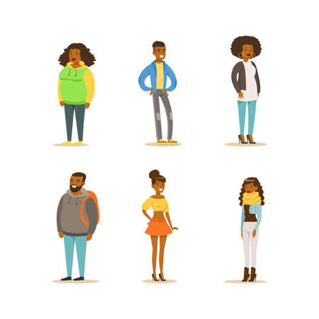 Illustration pour Cheerful African American People Set. Full Length Portraits of Men and Women Dressed Casual Clothes Cartoon Vector Illustration - image libre de droit