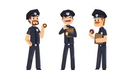 Illustration for Male Police Officers Eating Donuts Set, Policemen in Blue Uniform Having Lunch Vector Illustration - Royalty Free Image