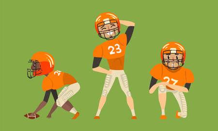 Illustration pour American Football Players Set, Rugby Players in Orange Sports Uniform Vector Illustration - image libre de droit