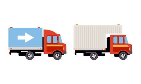 Illustration pour Truck or Lorry as Motor Vehicle and Urban Transport for Transporting Cargo Vector Set - image libre de droit
