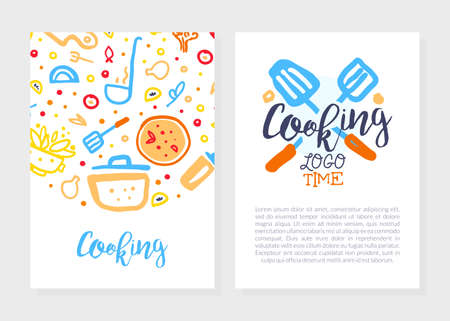 Illustration pour Cooking Time Logo Design, Culinary School, Class, Blog Flyer, Card, Brochure with Kitchenware Utensils, Cooking Ingredients Pattern and Space for Text Vector Illustration - image libre de droit