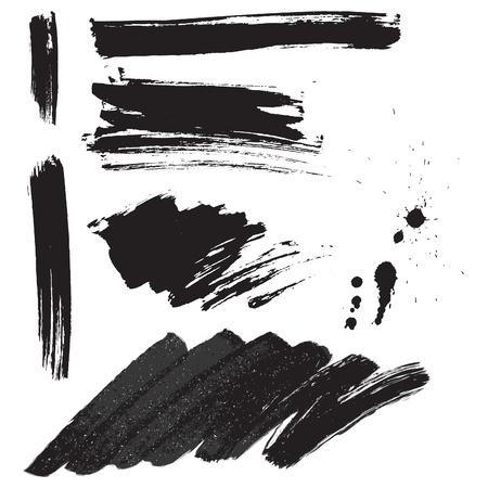 Brush strokes and ink splatter set