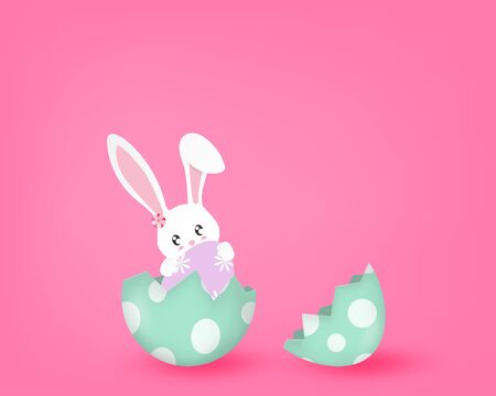 Happy Easter Day With Cute Bunny In A Half Broken Egg On Pink