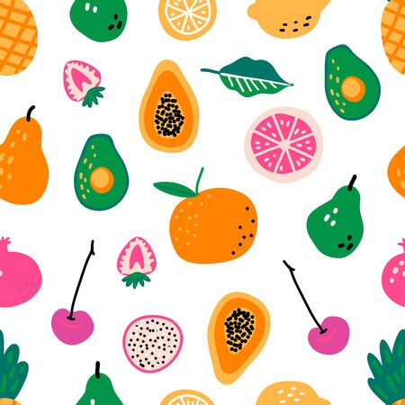 Illustration pour Seamless pattern with fruits. Hand drawn vector illustration. Cooking ingredients or courses background. Recipe cartoon template. Scandinavian style cafe menu greengrocery, banner, cookbook page. - image libre de droit