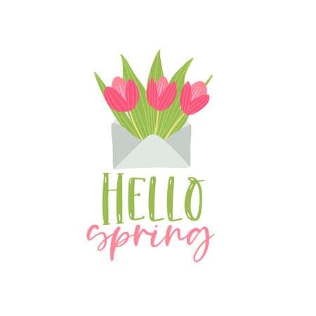 Ilustración de Bouquet of spring flowers in the envelope. Vector hello srping greeting card - Imagen libre de derechos