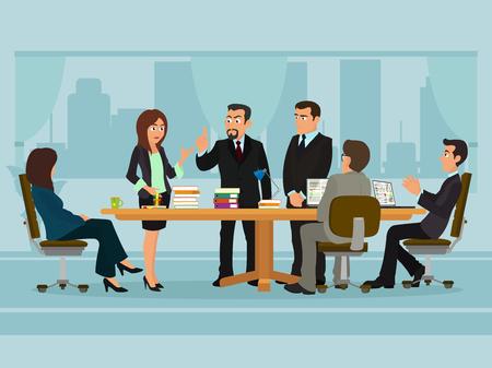 Illustration pour Business People Meeting Discussing Office Desk Businesspeople Working Flat Vector Illustration - image libre de droit