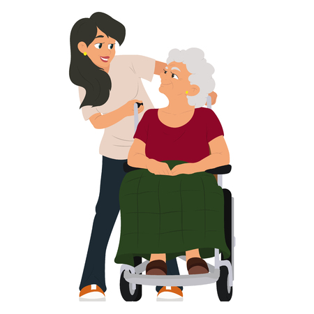 Illustration pour A social worker helps a grandmother in a wheelchair. vector illustration isolated on white background. - image libre de droit