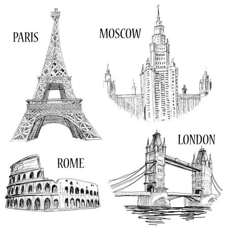 European cities symbols sketch: Paris (Eiffel Tower), London (London Bridge), Rome (Colosseum), Moscow (Lomonosov University)