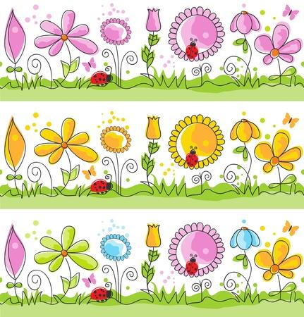 Cartoon summer nature scene (seamless patterns)
