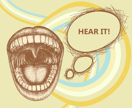 Opened mouth speaking loud and speech bubble