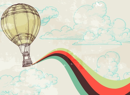 Retro hot air balloon sky background old paper texture