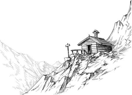 Mountain hut sketch