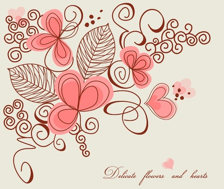 Love decoration, delicate flowers and hearts
