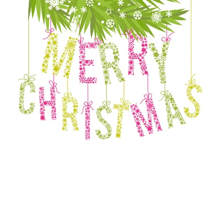 Merry Christmas text made of snowflakes and tree branchesのイラスト素材