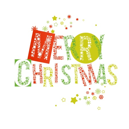 Merry Christmas text in red and green, letters made of snowflakes