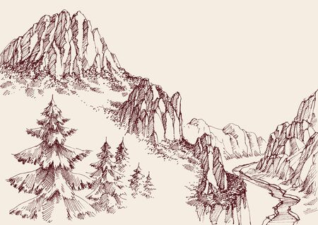 Illustration pour Alpine sketch background. Pine tree forest, a river in the valley and mountain ranges - image libre de droit