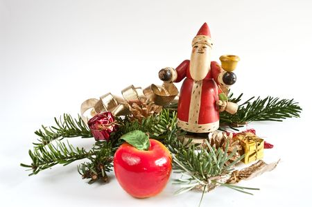 Decoration with a santa claus and a fir twig