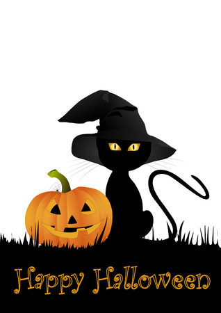 Halloween kitten with pumpkin