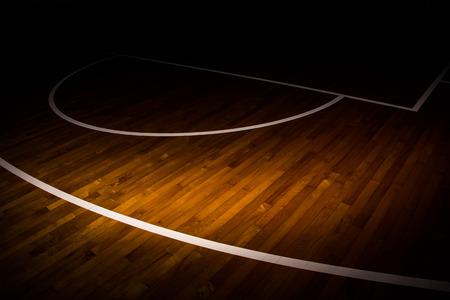 wooden floor basketball court with light effect