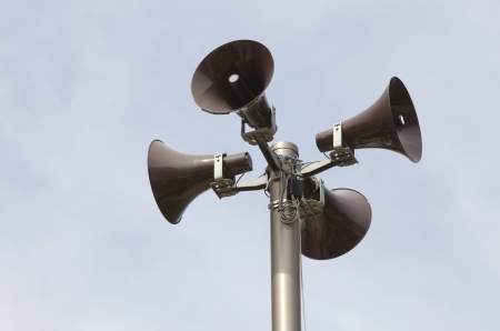 loudspeakers on a tall column