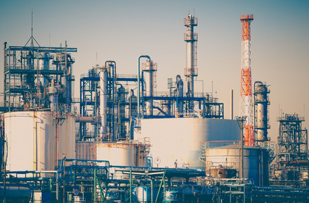 Photo pour Industrial view at oil refinery plant form industry zone - image libre de droit