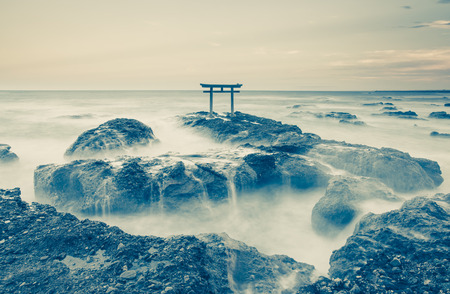 Japan landscape of traditional Japanese gate and sea at Oarai  Ibaraki prefecture