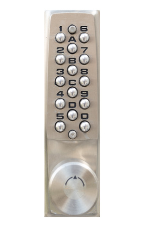 Door pin keypad with numbers isolated on white background