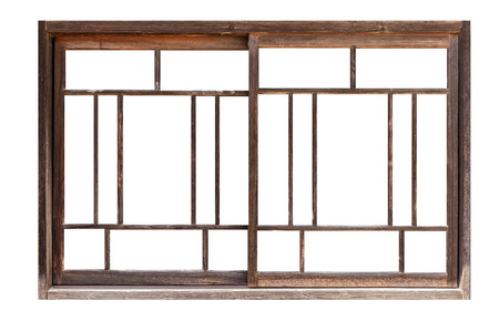 Photo pour Antique wooden window frames isolated on white background - image libre de droit