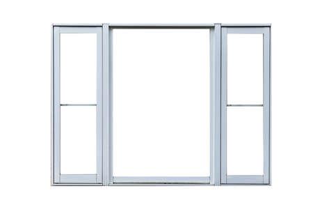 Photo pour Vintage white metal window frame isolaed on a white background - image libre de droit