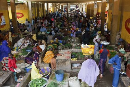 AUGUST 16: Women in the market, each day hundreds of women flock to the fruit and vegetable market to buy or sell food, August 16, 2009 in Mopti, Mali