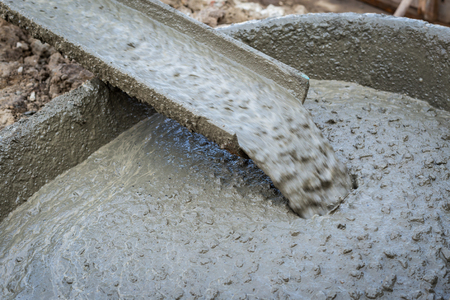 Pouring cement during for construction