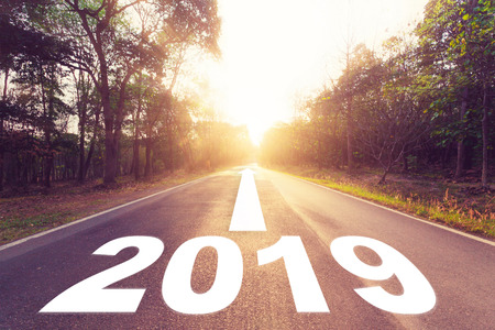 Empty asphalt road and New year 2019 concept. Driving on an empty road to Goals 2019.