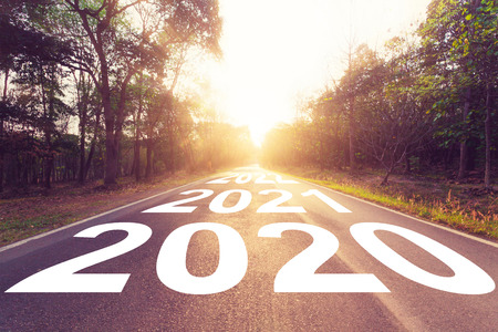 Photo for Empty asphalt road and New year 2020 concept. Driving on an empty road to Goals 2020. - Royalty Free Image