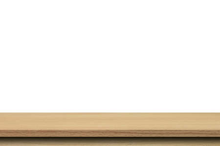 Photo for Empty wood table on isolate white background and display montage with copy space for product. - Royalty Free Image