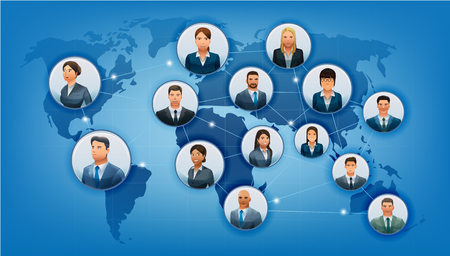 The communications business world. Network of cooperation partners in Map format. Ethnic people in international. No.1