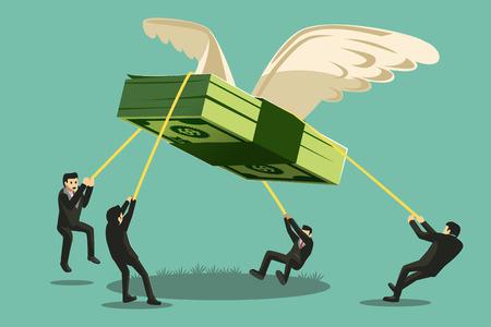 Ilustración de The Big Collaboration project. Businessman catch money shaped like a giant bird will fly away. - Imagen libre de derechos
