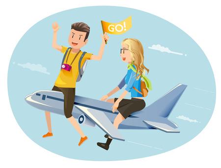 Illustration pour Travel by plane. Couple travelers. Open a new experience. Honeymoon. - image libre de droit