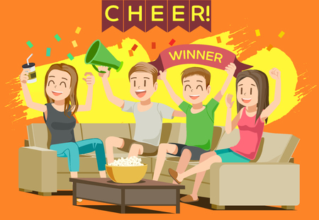 Illustration pour Cheer sport in home. Party with friend or family. People excited While Watching television. - image libre de droit