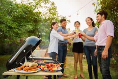 Photo pour The celebrations with a barbecue - image libre de droit