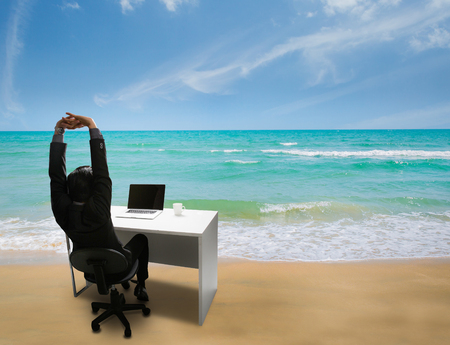Employee are happy at work, she was reminded of her time to relax at the beach in the summer
