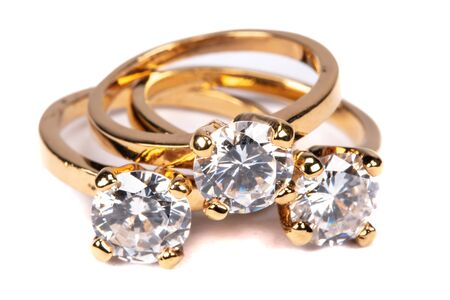 Photo for Close up of clear stone gold rings - Royalty Free Image