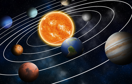 Photo pour Solar system model, Elements of this image furnished by NASA - image libre de droit