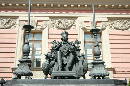 Saint Petersburg, Russia - July 21 2014: Monument of Paul I (2003, sculptor V. Gorevoy, architect V. Nalivaiko) in the courtyard of St. Michael Castle.