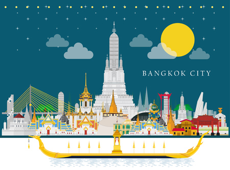 Illustration pour Travel to Thailand and The Royal Barge Suphannahong on River - image libre de droit