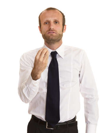 Businessman making an Italian gesture, business failure concepts