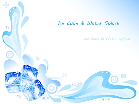 Ice cube and water splash with ornaments on blue background