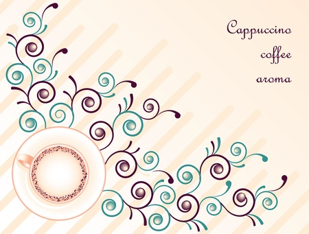 Cappuccino coffee on pink floral abstract background