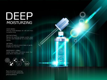 Illustration pour Skin serum toner template, glass droplet bottle - image libre de droit