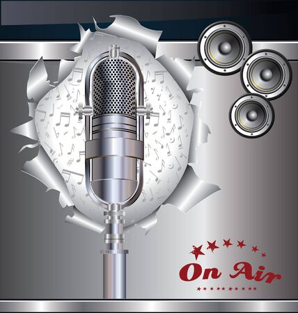 Music background with old microphone