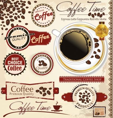 Foto de Vintage retro coffee badges and labels - Imagen libre de derechos